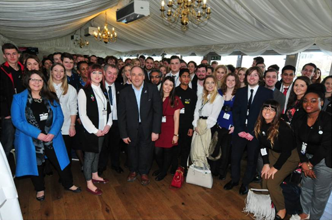 Large group picture from the Wirral Met College Apprenticeship visit to the House of Commons