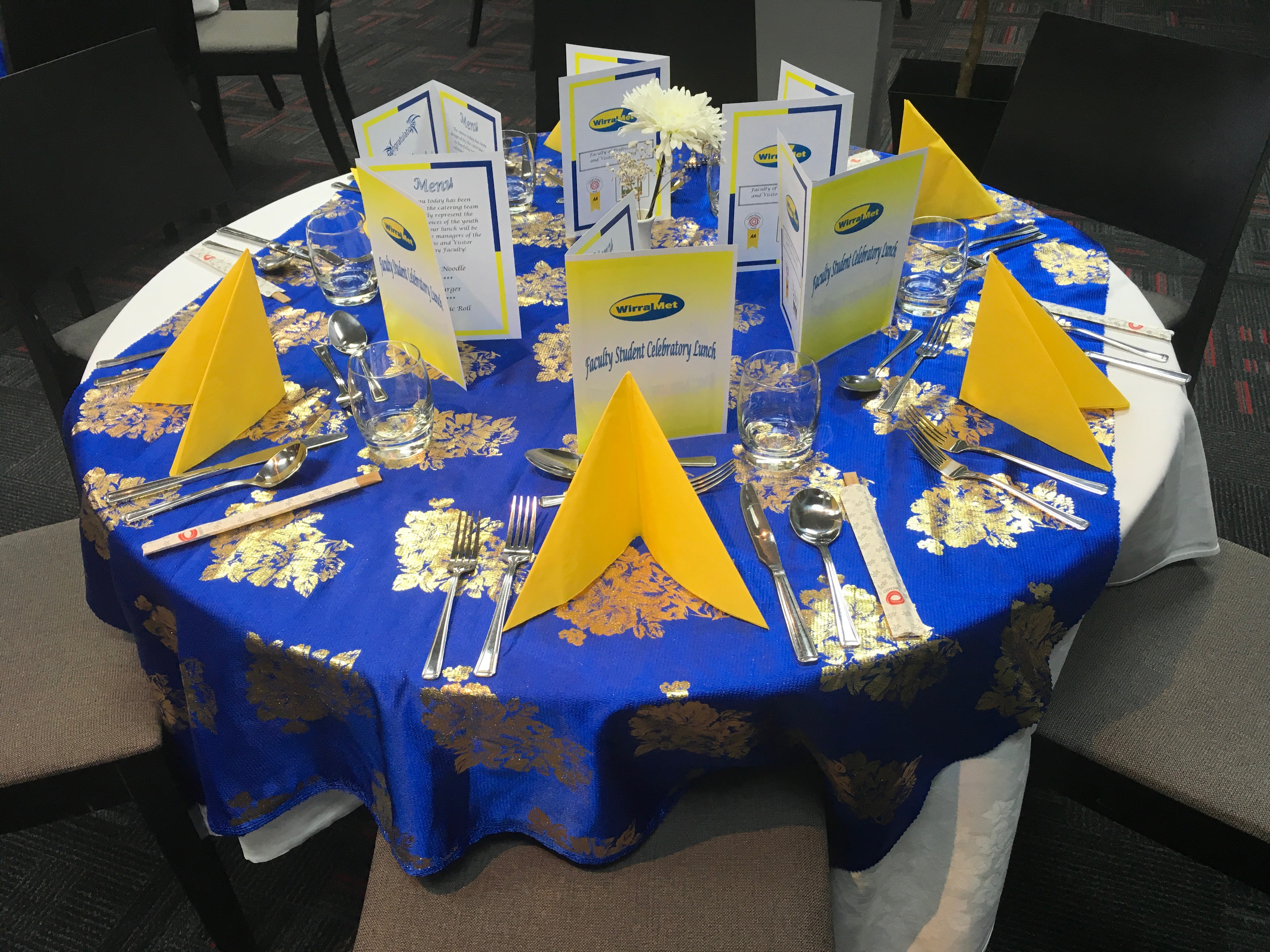 Wirral Met Student Celebratory Lunch 2017 dinner table