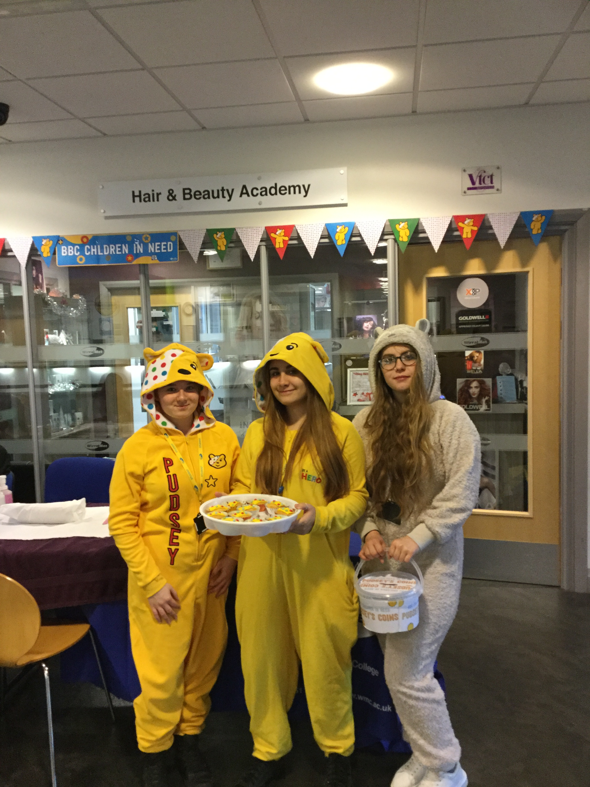 Wirral Met College students wearing pyjamas for College Fundraiser