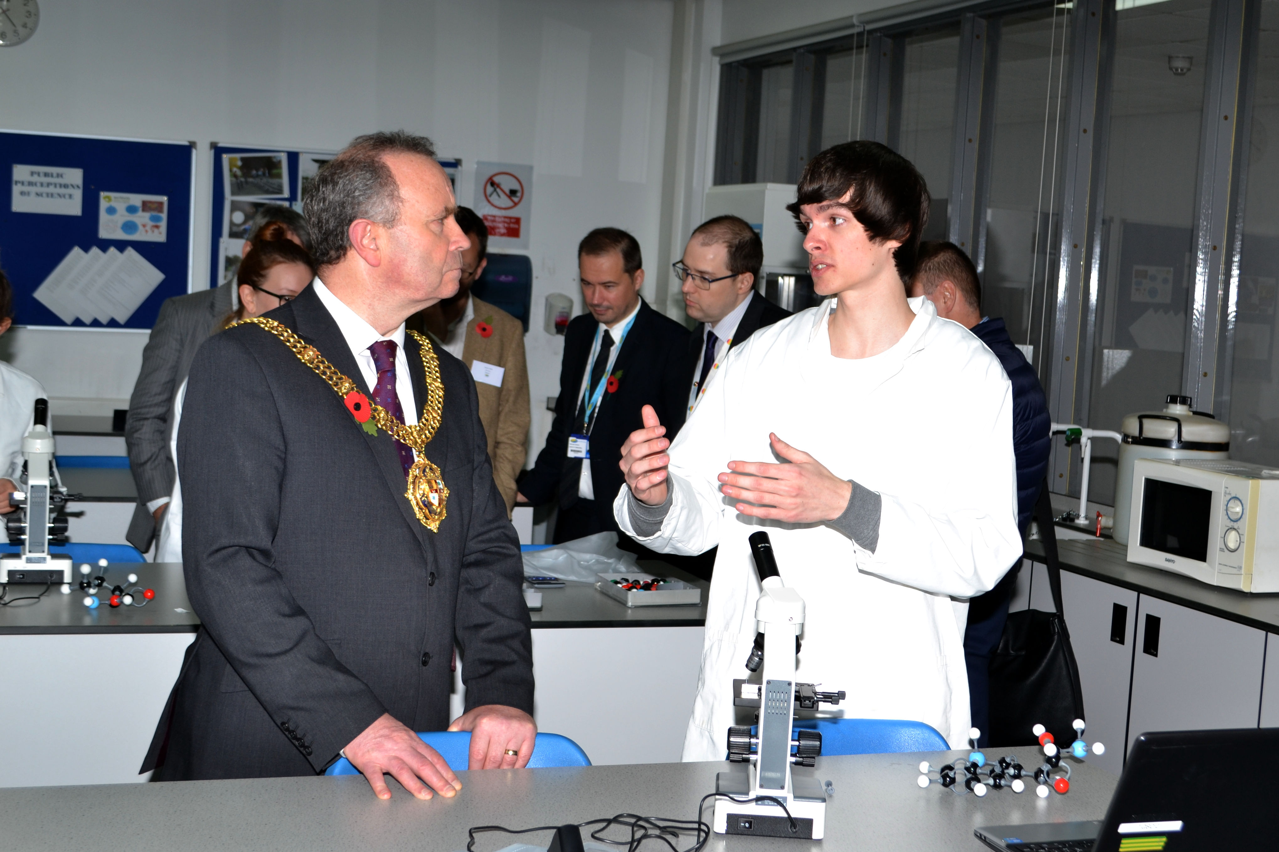 Wirral Mayor Councillor Pat Hackett speaks with Wirral Met STEM student