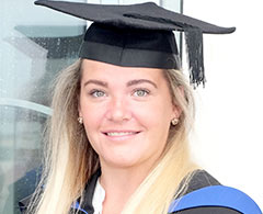 Hairdressing Beauty Therapy And Wellbeing Higher Education Case Study Ashleigh Molloy Wearing Graduation Outfit
