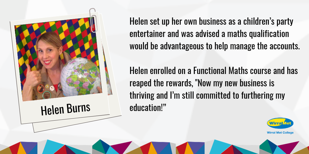 Case study poster of Helen Burns who enrolled in a functional maths course and is now working as a children's entertainer