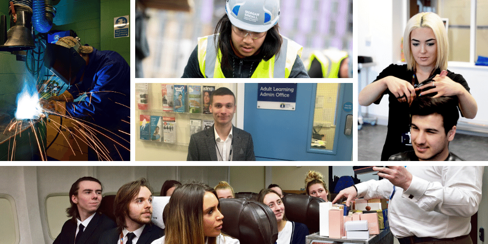 A collage of different full-time courses available at Wirral Met College such as hairdressing, engineering and cabin crew